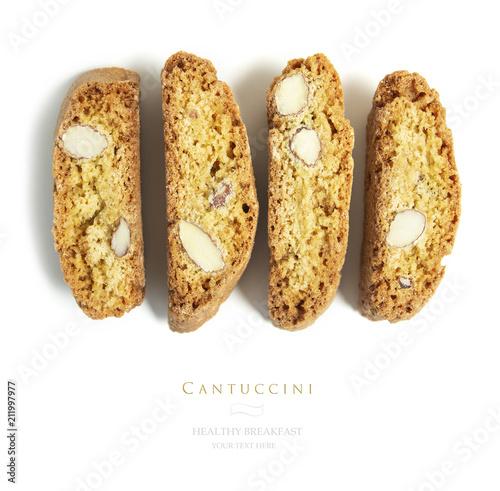 Fotografija Flat lay, top  traditional italian cantuccini cookies as background