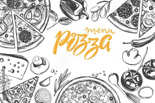 Włoska pizza, kolekcja pizzy ze składnikami, logo, ręcznie rysowane wektor ilustracja realistyczny szkic,