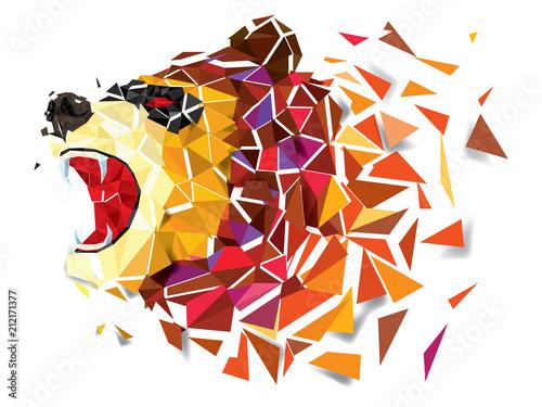 Fototapeta Low polygon BEAR geometric pattern. BEAR ANGRY vector eps10