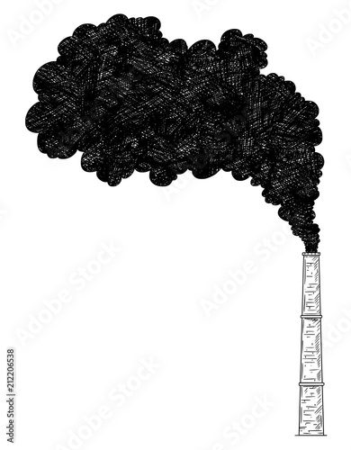 Vector artistic pen and ink drawing illustration of smoke coming from industry or factory smokestack or chimney into air Fototapete