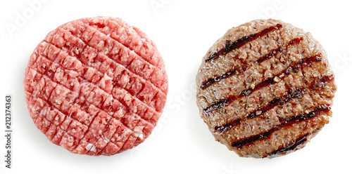 Fotografiet raw and grilled burger meat