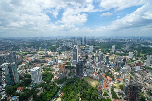 Stampa su Tela KLタワーのスカイデッキから見るクアラルンプールの都市風景