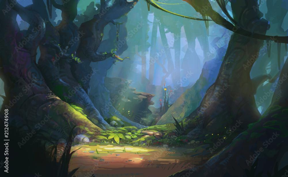 Game Art Fantasy Forest Environment. Grafika cyfrowa CG, ilustracja koncepcja, realistyczny scenografii stylu Cartoon <span>plik: #212474908 | autor: Ruslan</span>