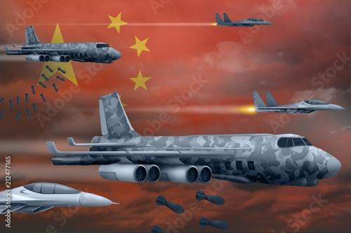 China air forces bombing strike concept Tapéta, Fotótapéta