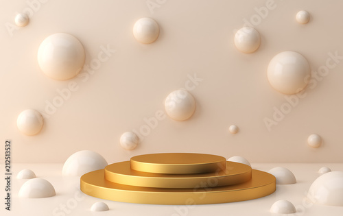 Scene with geometrical forms, the poster model, minimal background, render