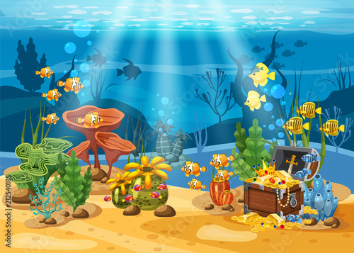Fototapeta premium Podwodny skarb, skrzynia na dnie oceanu, złoto, biżuteria na dnie morskim. Podwodny krajobraz, korale, wodorosty, ryby tropikalne, wektor, styl kreskówki, na białym tle