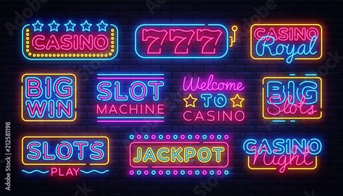 Photo Casino collection Neon signs vector design template