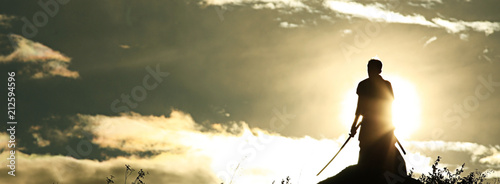 Fotografia Warrior with sword panorama silhouette