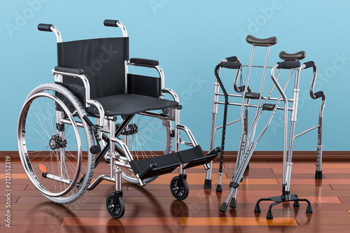 Wheelchair, walking frame and crutches on the wooden floor in the room, 3D rende Fototapeta