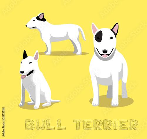 Stampa su Tela Dog Bull Terrier Cartoon Vector Illustration