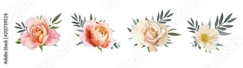 Wektor bukiet kwiatowy: różowy brzoskwiniowy ogród, kremowy, blady pomarańczowy Rose, żółty biały kwiat magnolii, eukaliptus, gałązki oliwne zieleni, zielone liście. Ślub, zaprosić karty Zestaw elementów akwarela