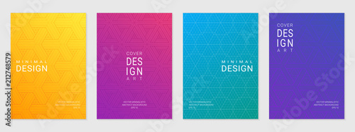 Vector set of cover design template with minimal geometric patterns, modern different color gradient.