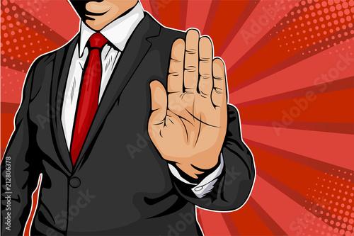 Biznesmen wyciąga rękę i każe przestać. Ilustracja wektorowa komiks stylu retro pop-artu.