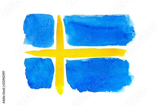 Wallpaper Mural The Swedish flag painted on white paper with watercolor