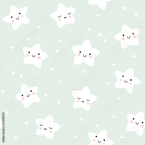 Cute smiling stars pattern. Night sky in pastel colors. Vector background for baby and kids design.