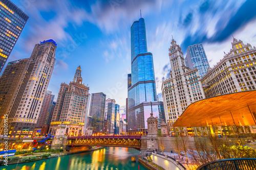 Fototapeta premium Chicago, Illinois, USA Pejzaż miejski