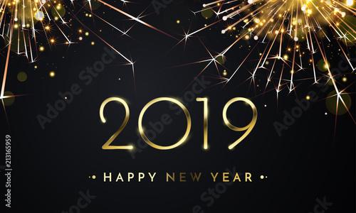 Fotografie, Tablou Happy New Year of glitter gold fireworks