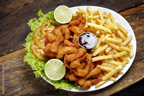 Breaded fried fish