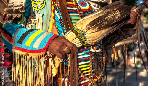 Fotografie, Obraz Native American Indian. close up of colorful dressed native man.