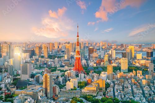 Tokyo skyline  with Tokyo Tower in Japan