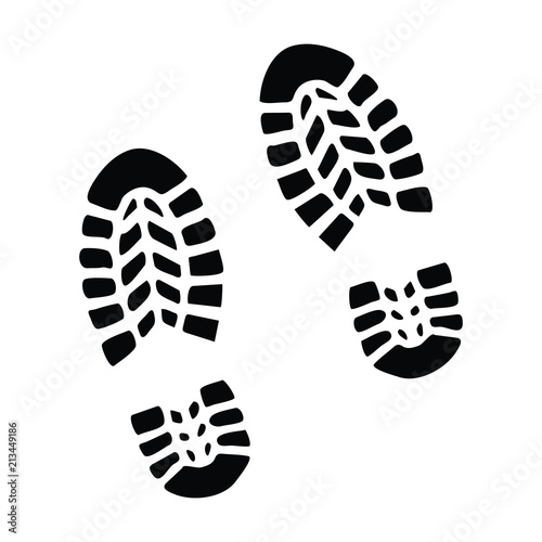 A black and white silhouette of some boot prints Fototapet