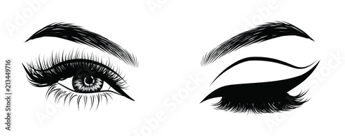 Obraz na płótnie Sexy winking luxurious eye with perfectly shaped eyebrows and full lashes