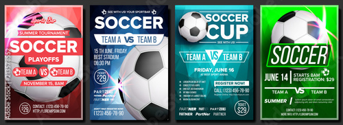 Fotografia Soccer Game Poster Set Vector