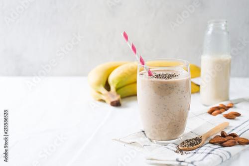 Healthy smoothie banana almond milk chia