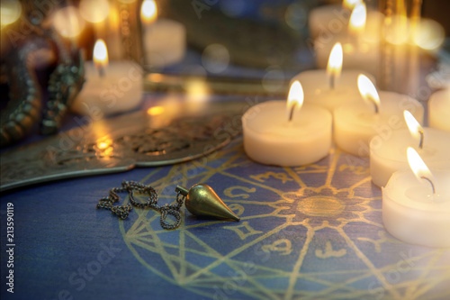 Magic ritual tools and candles, fortune telling