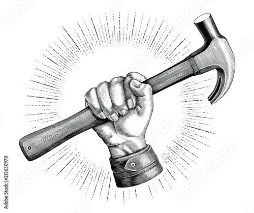 Canvas Print Hand holding hammer illustration vintage clip art for carpenter logo isolated on