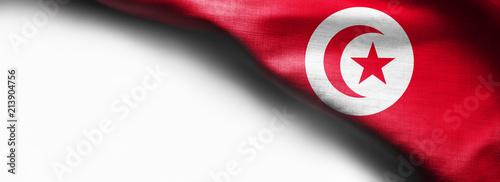 Fotografie, Obraz Tunisia waving flag on white background