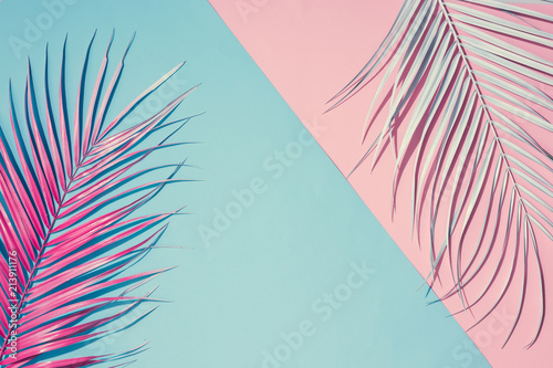 Fototapeta Tropical bright colorful background with exotic painted tropical palm leaves