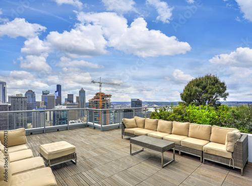 Fototapeta Apartment building roof top Sky lounge.