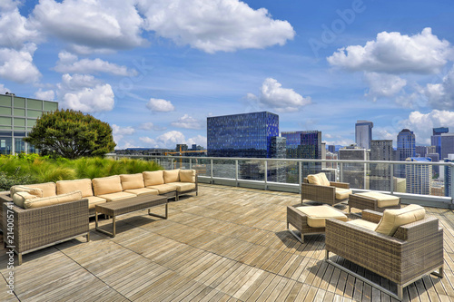 Fotografie, Obraz Beautiful view of Sky lounge on the roof of Apartment building.