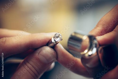 Vászonkép Different goldsmiths tools on the jewelry workplace