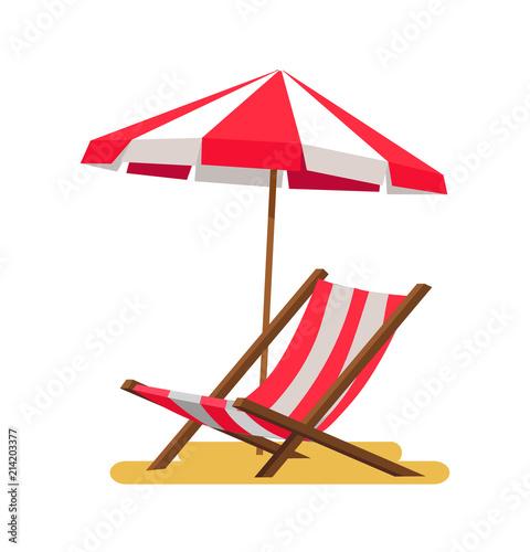 Photo Lounge and Umbrella Icons Vector Illustration
