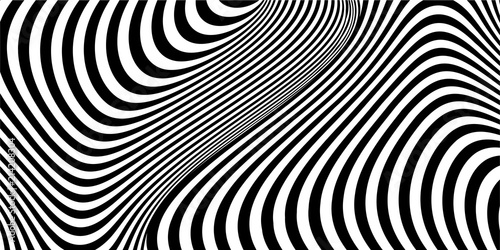 Abstract black and white striped wavy background. Geometric pattern with visual distortion effect. Optical illusion. Op art.