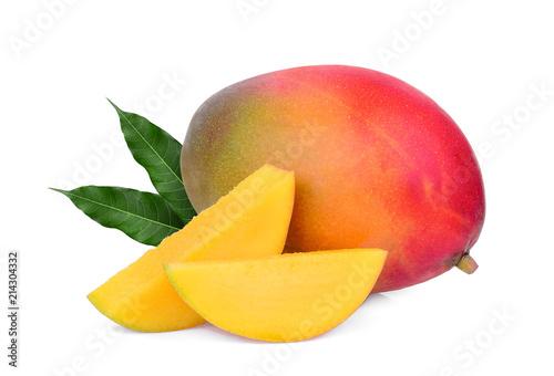 whole and slice ripe mango fruit with green leaves isolated on white background