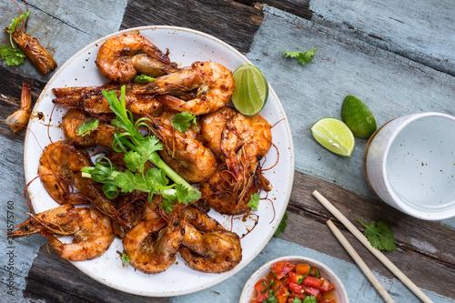 Assam Prawn, Crevettes Grillées à la Sauce de Tamarin. Plat Malaisien.