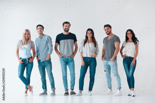 Group of young people on white background