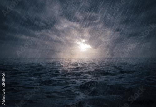 Obraz na plátně Sunset on stormy sea