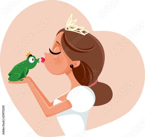 Cute Princess Kissing Prince Frog Illustration
