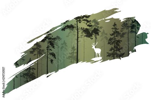 Fototapeta premium fragment tła z lasem i jeleniem do projektu. Ilustracji wektorowych