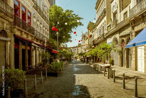 Colorful street in Lapa district of Rio de Janeiro, Brazil