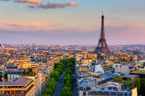 Skyline of Paris with Eiffel Tower in Paris, France. Panoramic sunset view of Paris