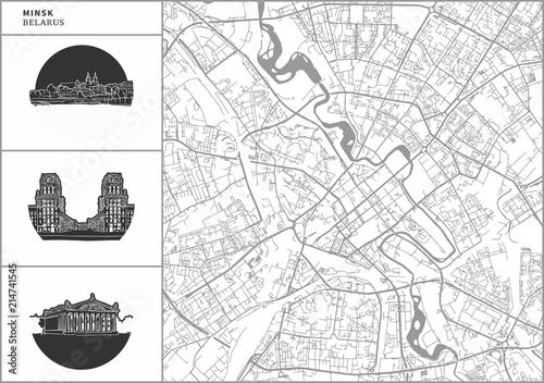 Wallpaper Mural Minsk city map with hand-drawn architecture icons