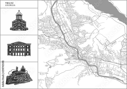 Obraz na plátně Tbilisi city map with hand-drawn architecture icons
