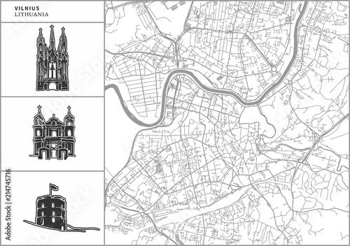Vilnius city map with hand-drawn architecture icons Fototapeta