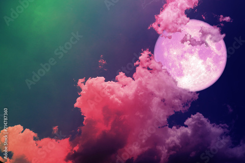 super full pink moon back silhouette colorful magenta sky
