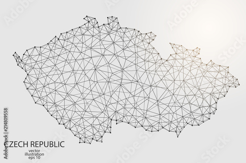Canvas Print A map of Czech Republic consisting of 3D triangles, lines, points, and connections